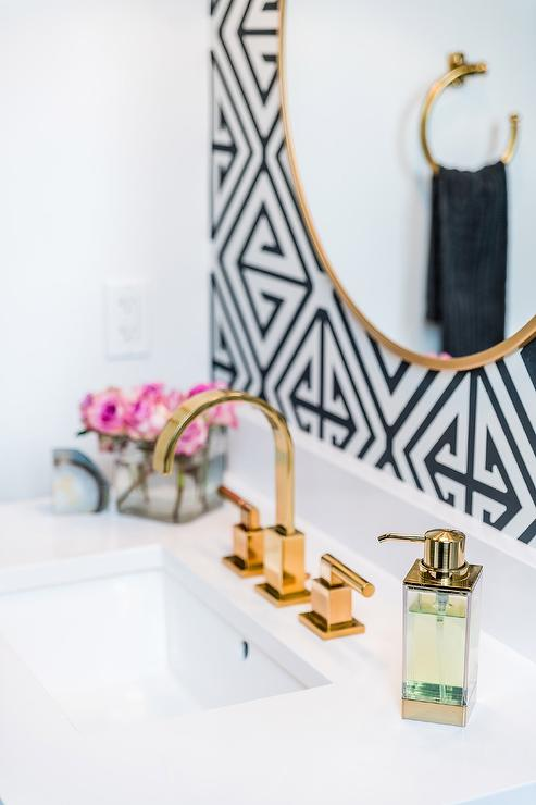 Powder Room With Gold Mirror On Black And White Wallpaper Contemporary Bathroom