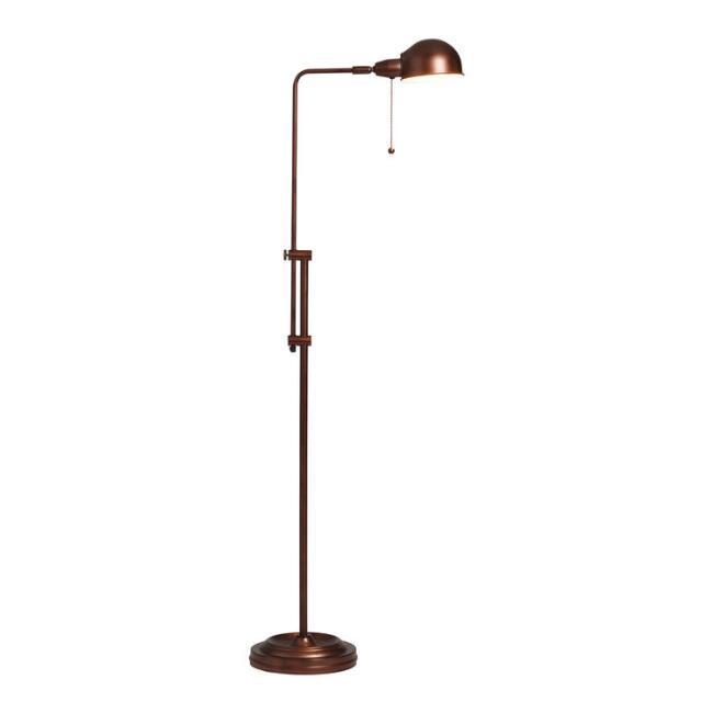 Crosby Pharmacy Rust Adjustable Floor Lamp, Antique Brass Adjustable Pole Pharmacy Metal Floor Lamp