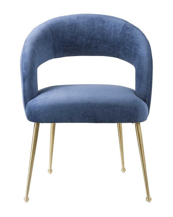 Astounding Rocco Slub Navy Open Back Dining Chair Dailytribune Chair Design For Home Dailytribuneorg