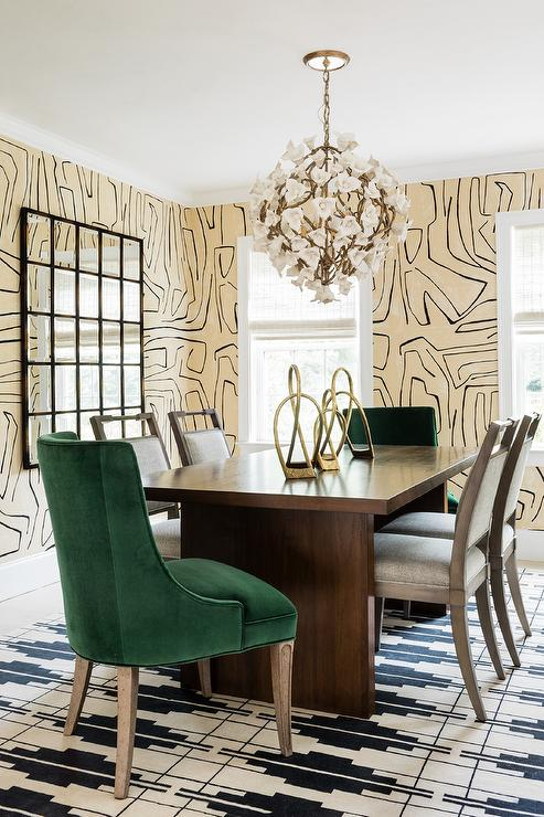 Green Velvet Dining Chairs On Black And White Rug Contemporary Dining Room