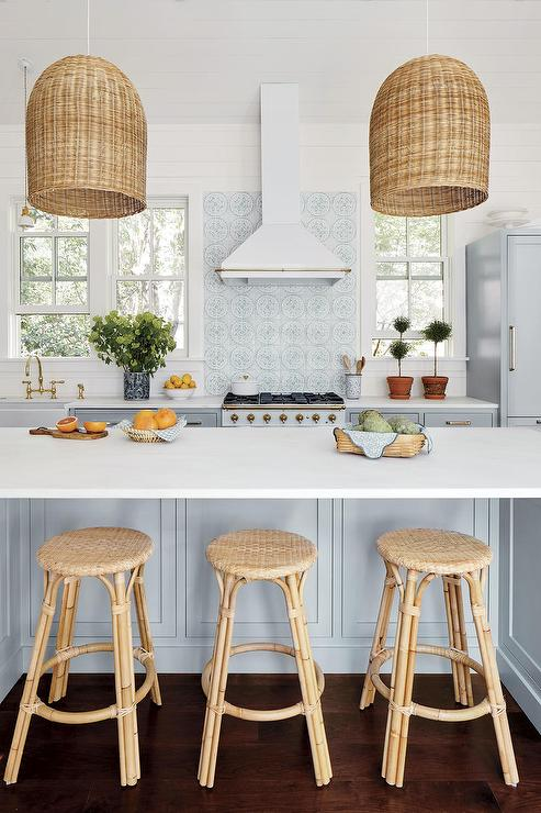 White And Gray Kitchen With Basket Chandeliers - Cottage - Kitchen ...