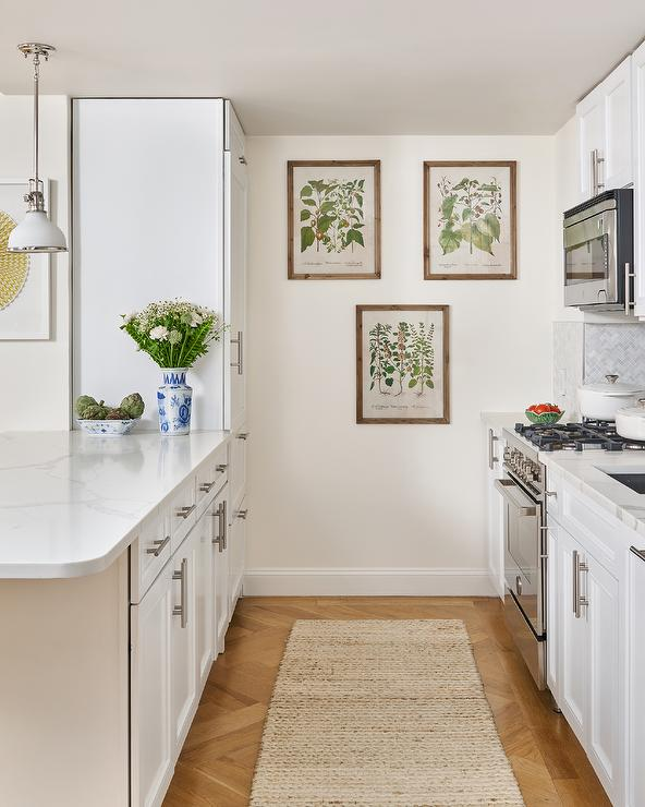 White Galley Style Kitchen With Jute Rug Transitional Kitchen