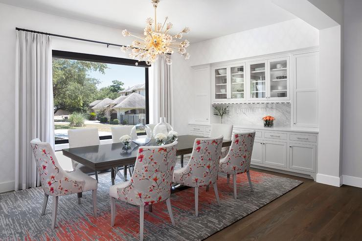 Glossy Black Dining Table With Red And Gray Chairs Transitional Room