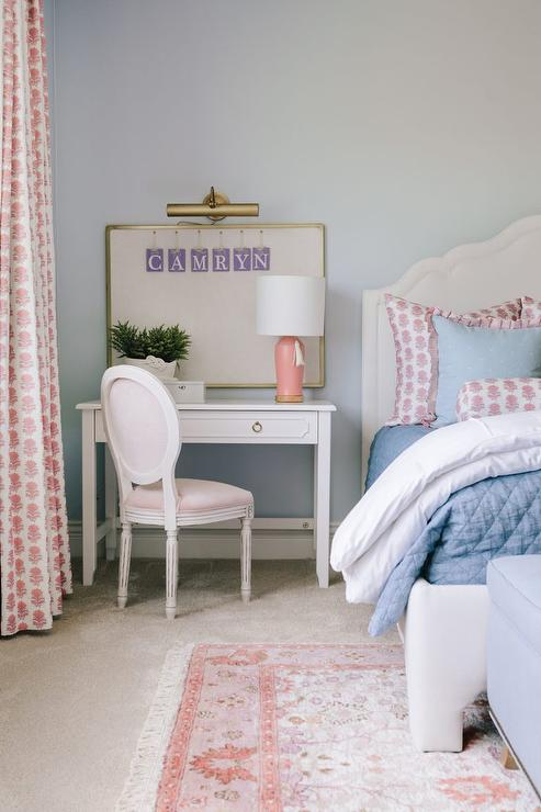 pink round back french chair