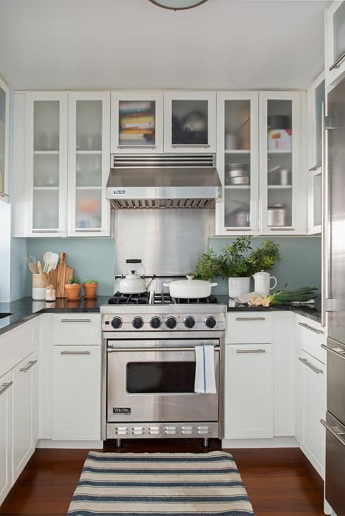 White And Blue Kitchen With Viking Range Transitional Kitchen