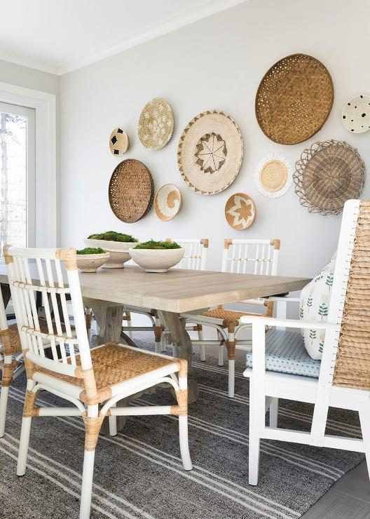 Wondrous Wooden Trestle Dining Table With White And Gold Chairs Creativecarmelina Interior Chair Design Creativecarmelinacom