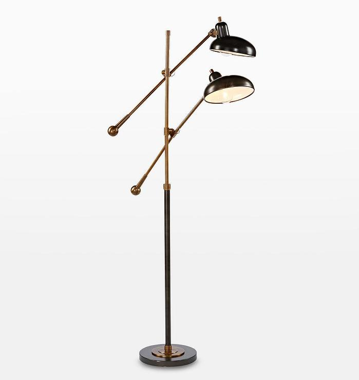 factory price 2461f da229 Bruno Brass Bronze Double Arm Floor Lamp