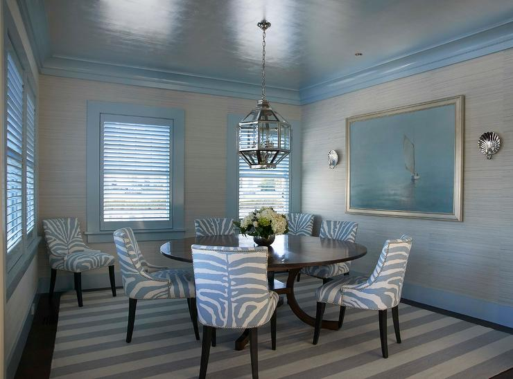 Blue Zebra Print Dining Chairs On Gray Stripe Rug Transitional Dining Room
