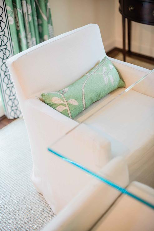 Stupendous Green Lumbar Pillow On White Slipcovered Dining Chair Ocoug Best Dining Table And Chair Ideas Images Ocougorg