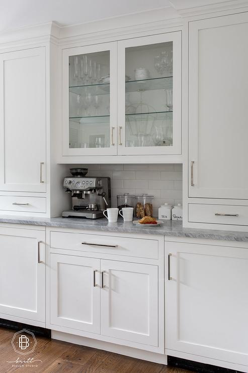 Gray Marble With White Shaker Cabinetry Transitional Kitchen