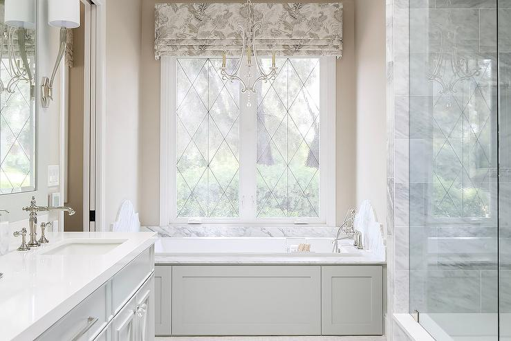 privacy for bathroom window over tub decorative window.htm drop in tub with light gray wainscoting transitional bathroom  drop in tub with light gray wainscoting
