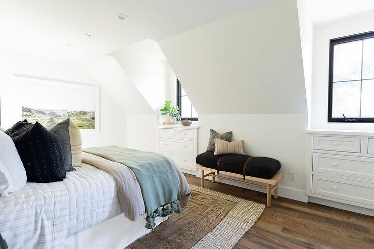 Vintage Rug Layered Over Jute Rug Cottage Bedroom