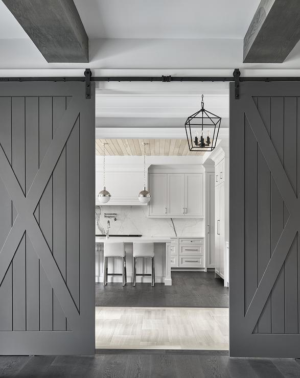 Transitional Gray Barn Doors