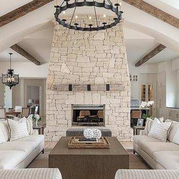 Beige Stone Fireplace Design Ideas
