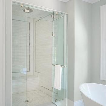 Gray Border Shower Tiles Design Ideas