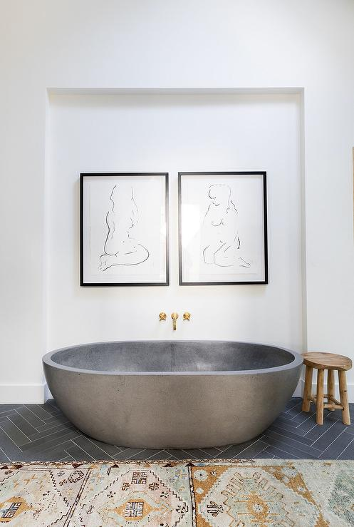 Oval Concrete Bathtub Under Nude Abstract Sketches ...