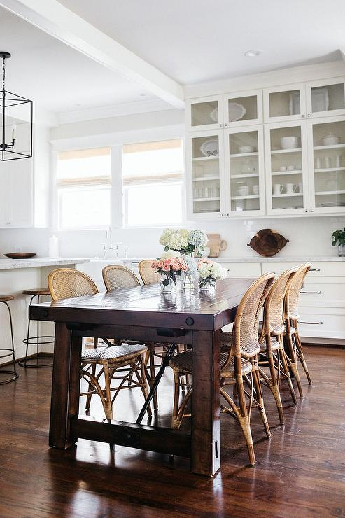 Rattan and Wicker Bistro Dining Chairs - Transitional - Kitchen