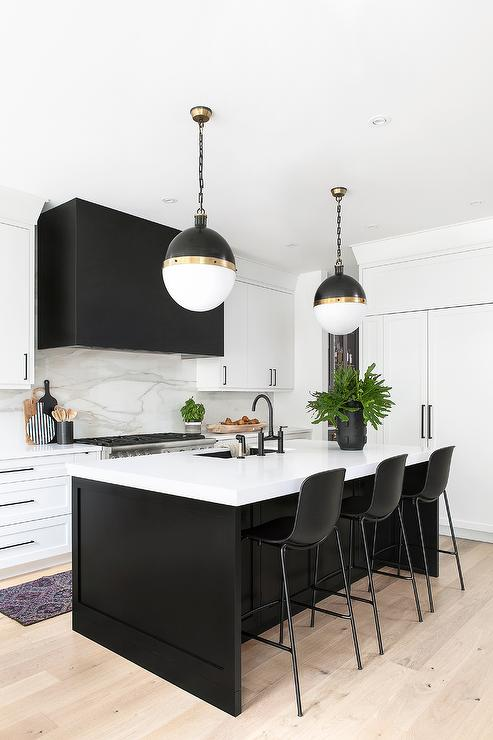 Black Shaker Island With Hicks Pendants Modern Kitchen