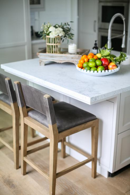 Honed White Marble Top in Square Kitchen Island ...