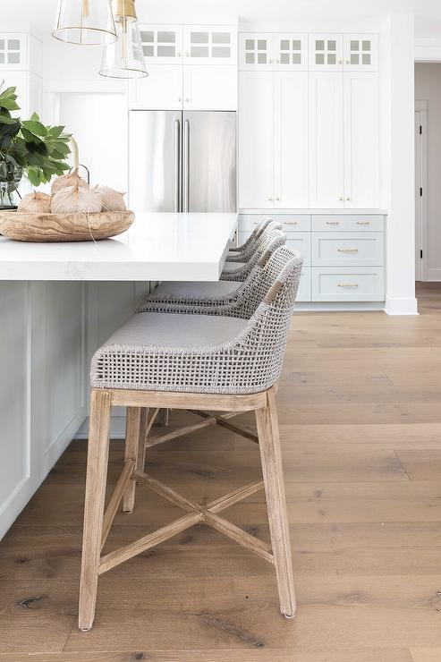 Remarkable Gray Rope And Fabric Stools At Light Gray Center Island Ibusinesslaw Wood Chair Design Ideas Ibusinesslaworg