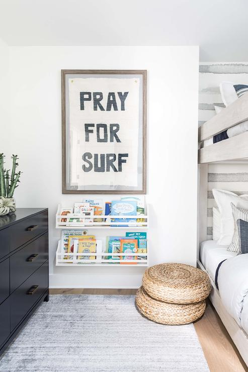 White and Gray Boys Room with Black Dresser - Transitional - Boy's