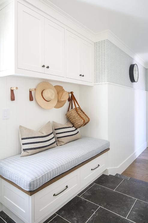 Built In Mudroom Bench With Leather Tab Hooks Transitional Laundry Room