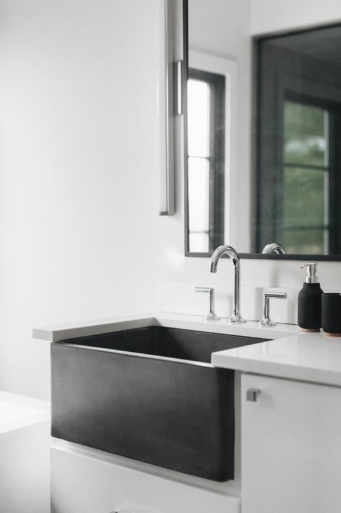 White Bath Vanity With Concrete Sink Modern Bathroom