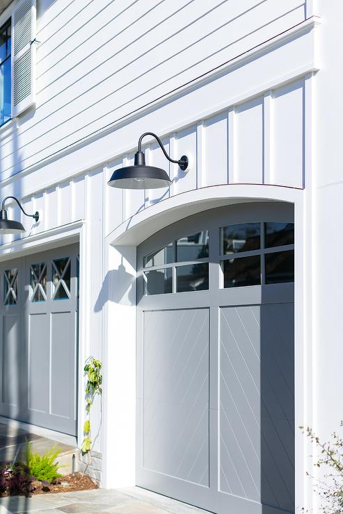 Light Gray Chevron Panels On Garage, Gooseneck Lights Over Garage Doors