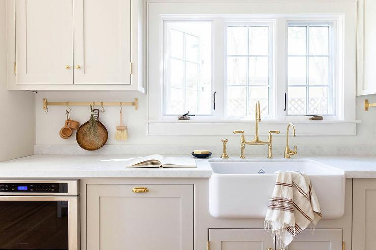 Light Gray Shaker Cabinetry With White Shaw Farm Sink Transitional Kitchen