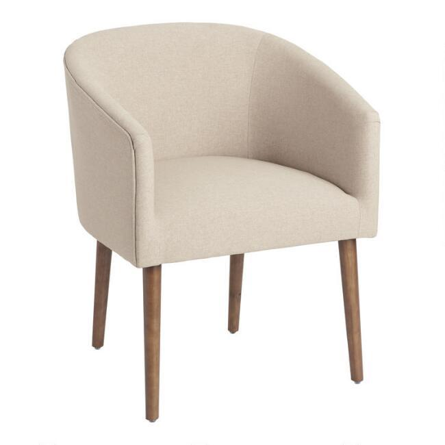 Callie Curved Tan Upholstered Tub Chair