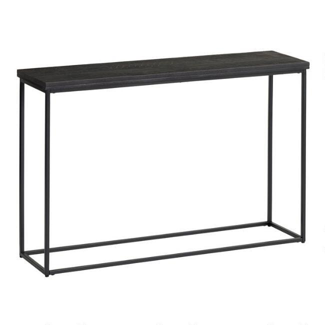 Samir Geometric Black Wood Metal Console Table - Small Black Metal Rectangle Side Table