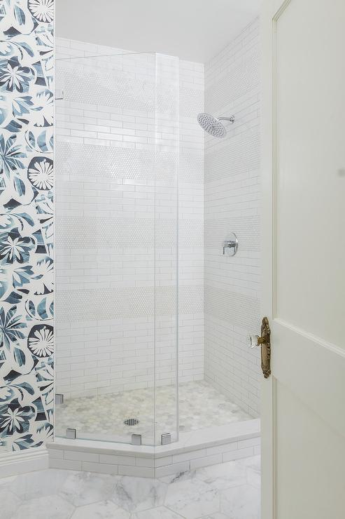Corner Shower With Mixed Wall Tiles Transitional Bathroom,Furnishing A New Home