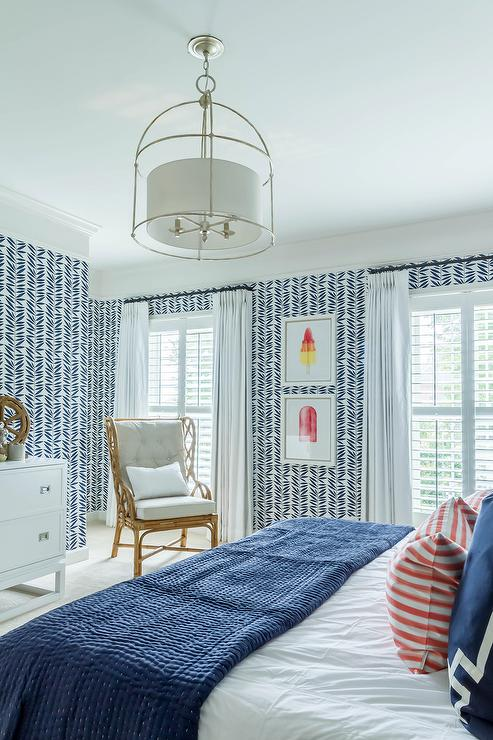 Groovy White And Blue Bedroom With Rattan Wingback Chair Pabps2019 Chair Design Images Pabps2019Com