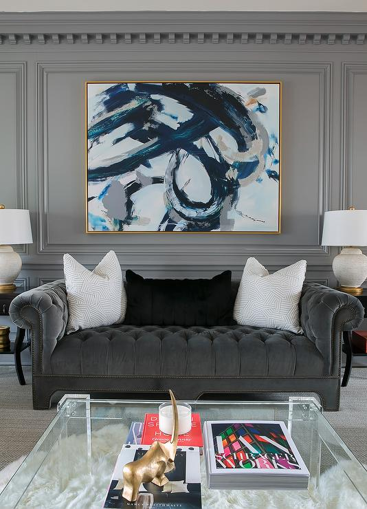 Admirable Dark Gray Chesterfield Sofa With Square Lucite Coffee Table Unemploymentrelief Wooden Chair Designs For Living Room Unemploymentrelieforg