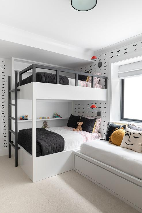 Amazing White Built In Bunk Bed With Black Railings Transitional Andrewgaddart Wooden Chair Designs For Living Room Andrewgaddartcom