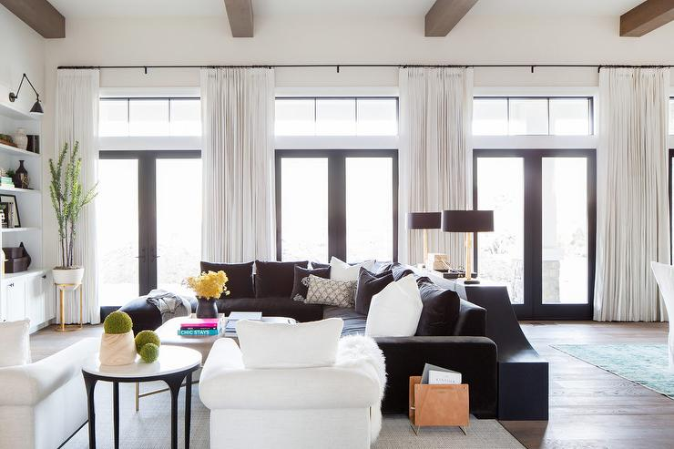 Peachy Black Velvet Sectional With Black And White Pillows Evergreenethics Interior Chair Design Evergreenethicsorg