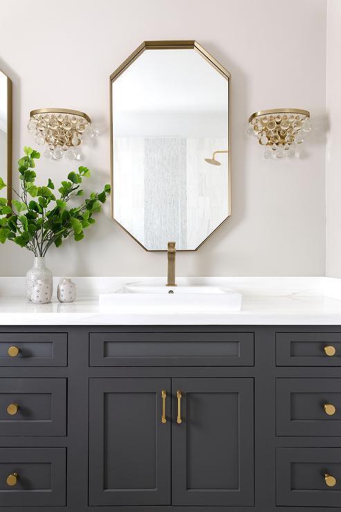 Gold Mirror With Black Shaker Bath Vanity Transitional Bathroom