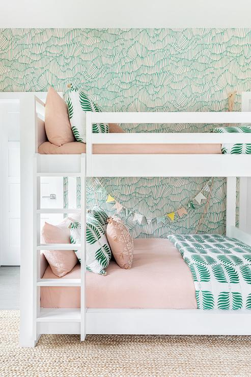 White Bunk Bed With Pink And Green, Mint Green And Pink Bedding