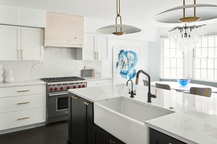 White Kitchen With Black Island Transitional Kitchen