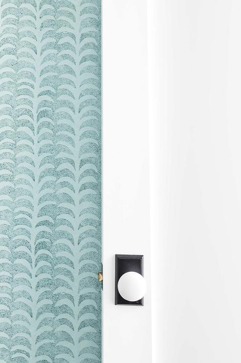 Blueprint Wallpaper Eclectic Bathroom Hsh Interiors