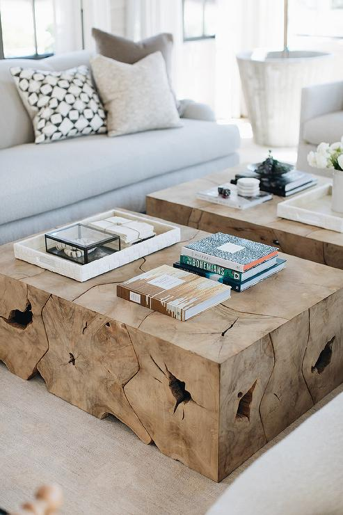 Side by Side Burl Wood Coffee Tables - Transitional - Living ...