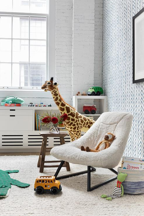 Boys Room with Faux Sheepskin Lounge Chair - Contemporary - Boy's Room