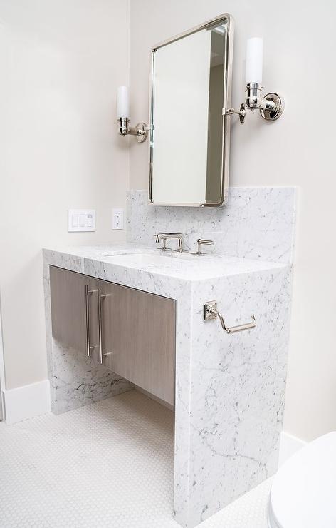 Honed White Marble Waterfall Bath Vanity Transitional Bathroom