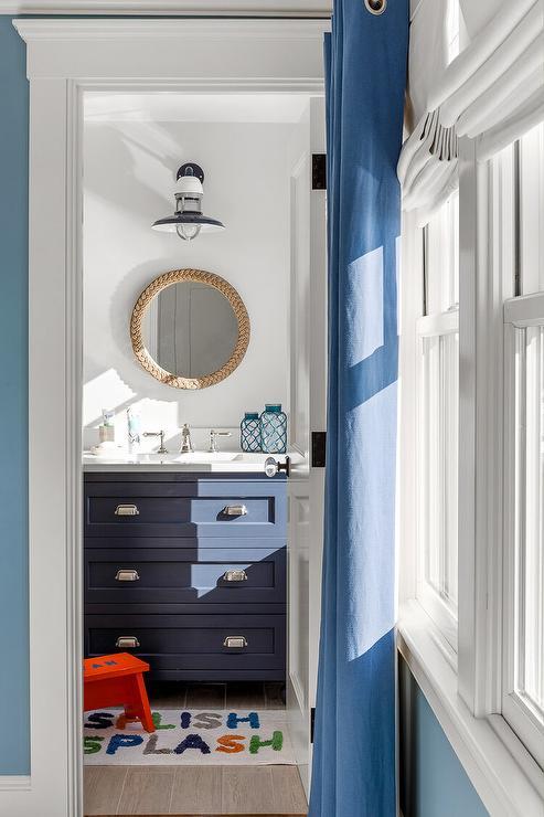 Navy Blue Bath Vanity With Round Rope Mirror Cottage Bathroom