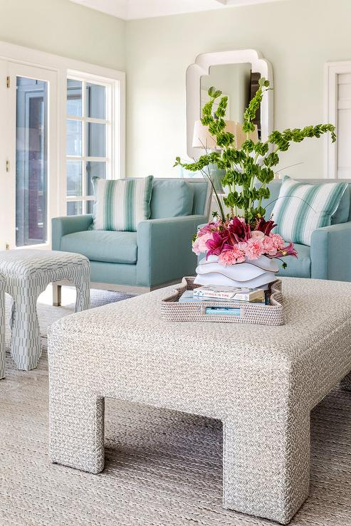 Turquoise Blue Accent Chairs With Turquoise Stripe Pillows Cottage Living Room