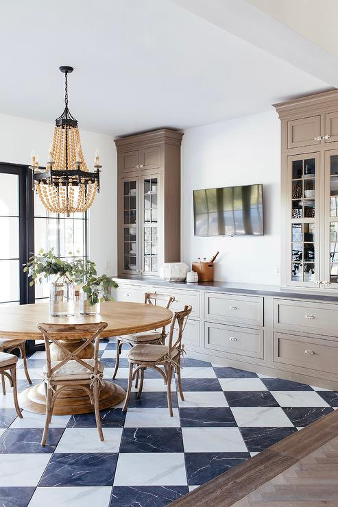 floor decor flooring checkered.htm taupe dining room built ins with vintage cup pulls transitional  taupe dining room built ins with