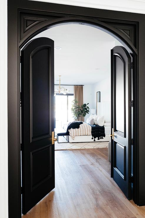 Black Arch Double Doors to Master Bedroom - Transitional ...
