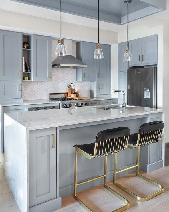 Light Blue Kitchen Cabinets With Brass Hardware Transitional
