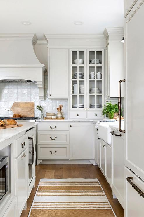 Light Gray Kitchen Cabinetry With Glass Doors Cottage Kitchen
