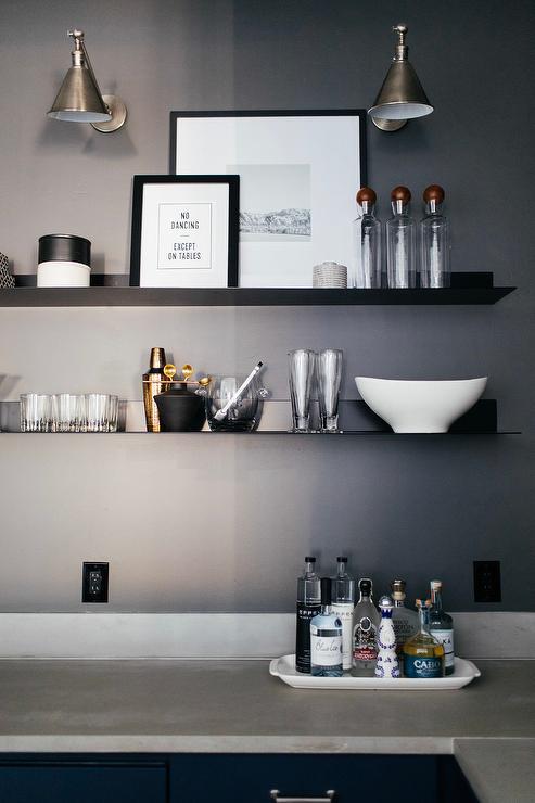 Thin Metal Floating Bar Shelves Modern Kitchen